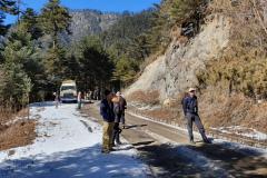 Rockjumper's 2020 Bhutan birding tour group doing some roadside birding
