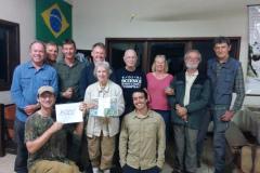 Rockjumper's 2019 Brazil North-east Mega birding tour group celebrating Elaine's 8000th bird species