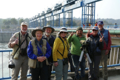 Rockjumper's 2020 India Northern Birds and Tigers birding tour group celebrates finding a Wallcreeper on the Kosi Barrage after two days of searching