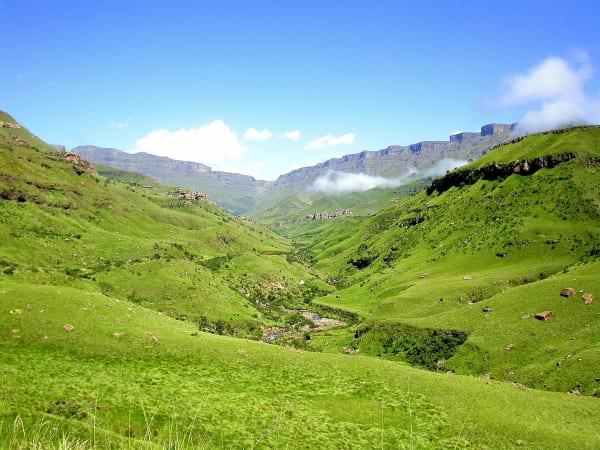 The mighty Drakensberg Mountains run along the western boundary of KwaZulu-Natal province