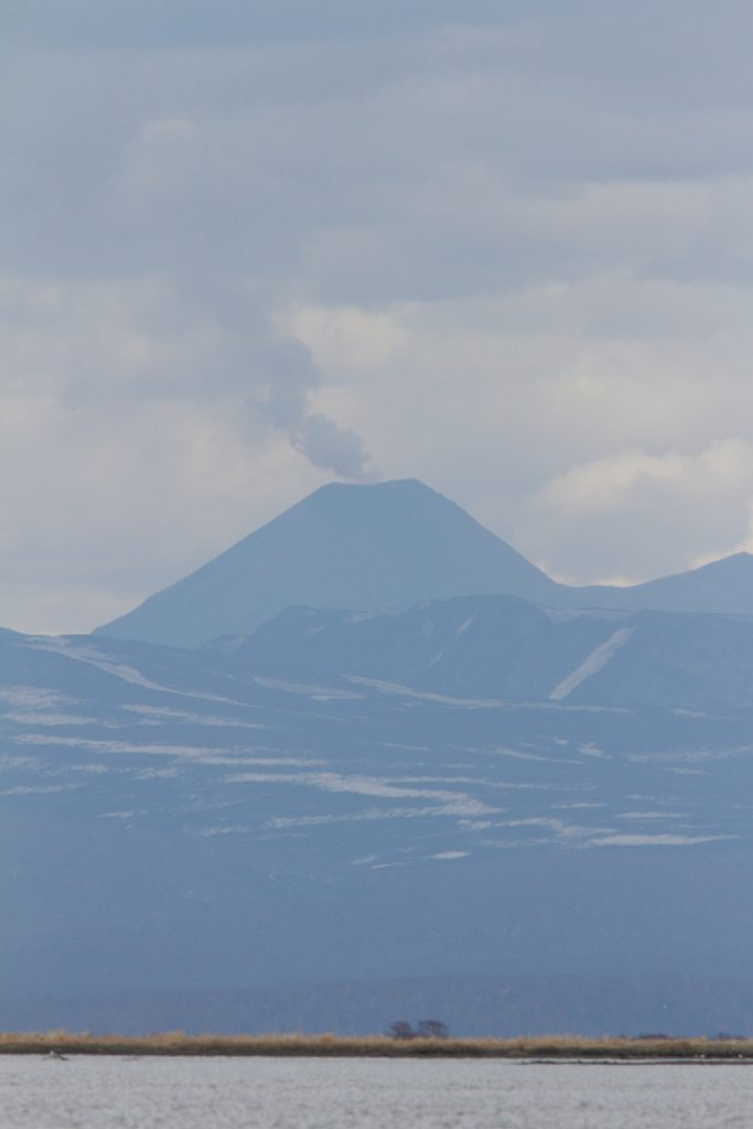 Karimsy Volcano photographed from the Zhapanova River. Image by Adam Riley