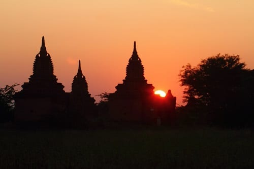 Sunset over Temples at Bagan