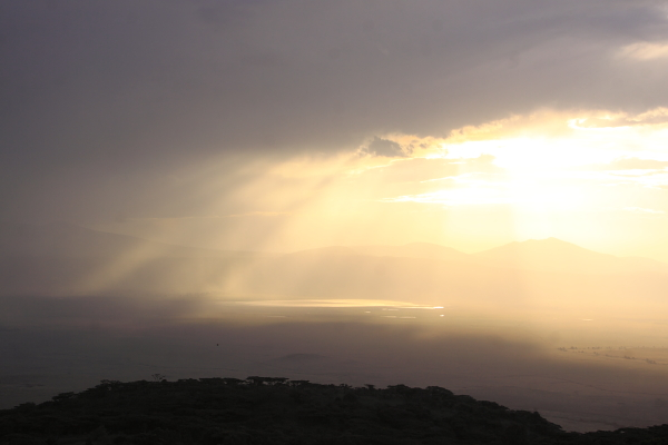 Sunset over the Ngorongoro Crater, a sight to behold!