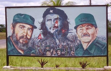 Fidel, Che, Raul - Military Base near Jovellanos © Clayton Burne