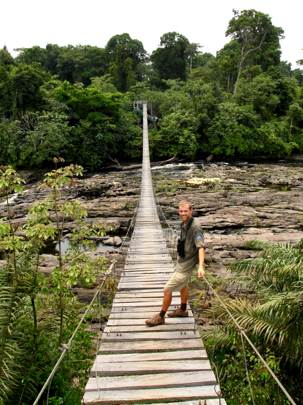 Markus Lilje on the swing-bridge over the Mana River with Korup National Park in the background. Photo by Keith Valentine
