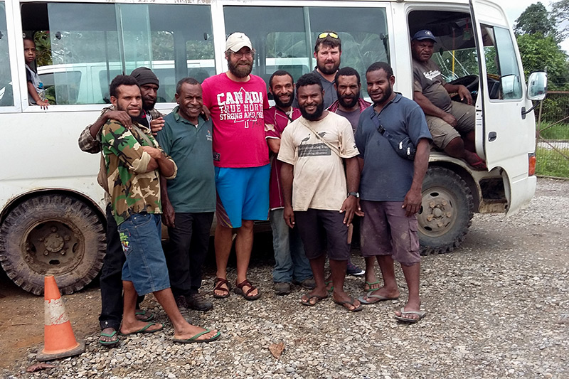 Gareth and Adam with the guides at Kiunga