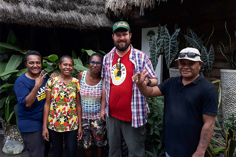 Gareth with the Raintree Lodge staff