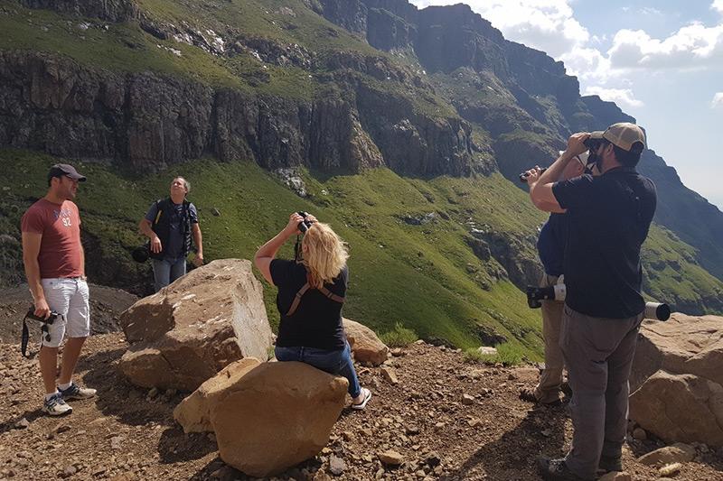 The management team birding Sani Pass
