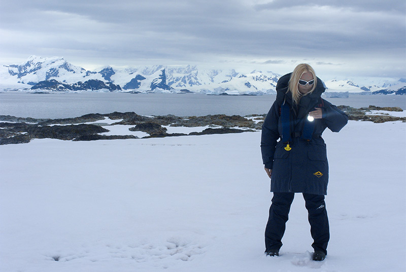Crystal on her trip to Antarctica