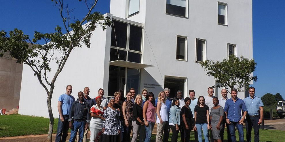 Some of our office team outside Rockjumper House