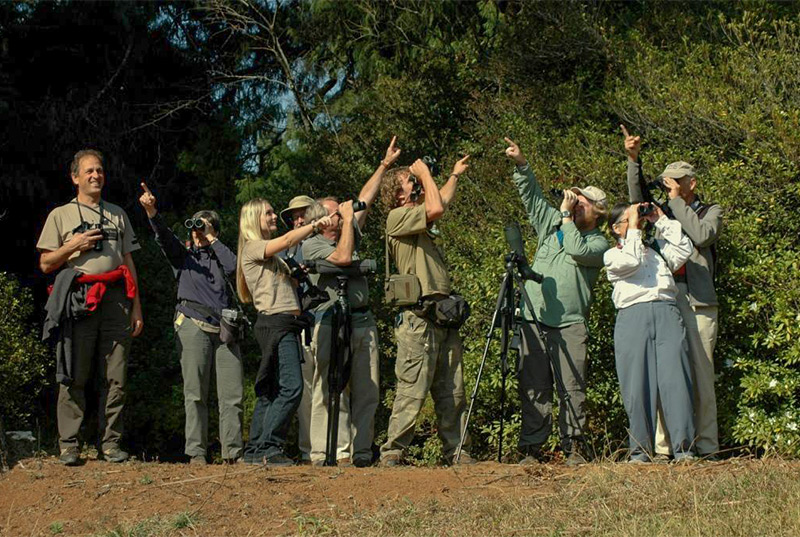 """Where is the bird?"" - the group from Crystal's first birding tour"